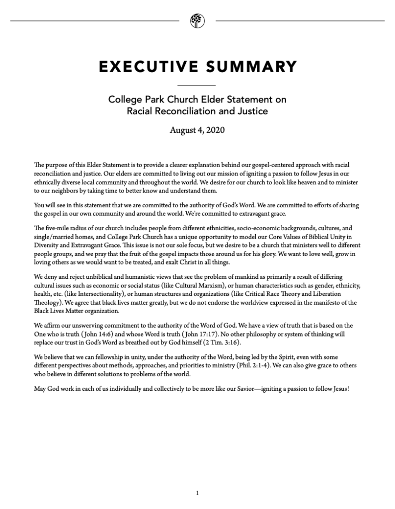 Elder Statement on Racial Reconciliation & Justice